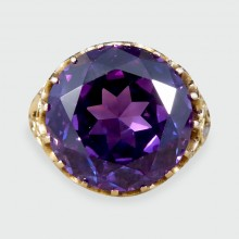 SOLD Edwardian Synthetic Alexandrite Detailed 14ct Yellow Gold Ring