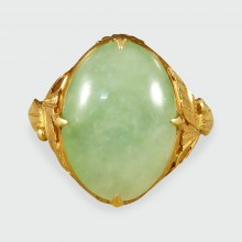 SOLD Antique Late Victorian Oval Jade Ring in 22ct Yellow Gold