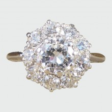 SOLD...1930's Diamond Cluster Engagement Ring in Platinum