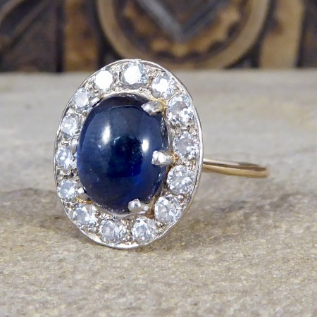 1930's Cabochon Sapphire and Diamond Cluster Ring in Unmarked 18ct Yellow Gold