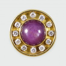 Contemporary 7.59ct Cabochon Star Ruby and Diamond Spherical Ring in 18ct Yellow Gold