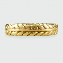 SOLD Edwardian Detailed 18ct Yellow Gold Wedding Band