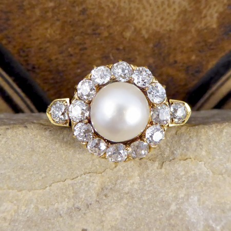 SOLD Antique Late Victorian Natural Pearl and Diamond Cluster Ring in 18ct Gold
