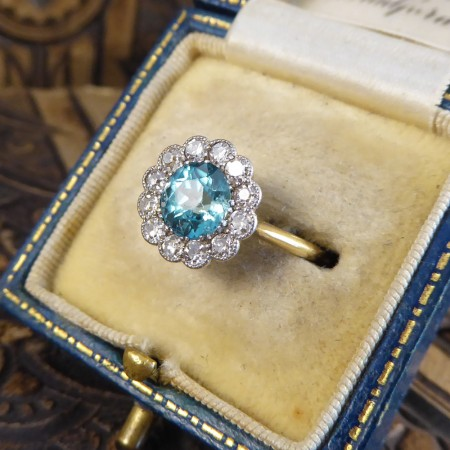 Edwardian Blue Zircon and Diamond Cluster Ring in 18ct Yellow Gold