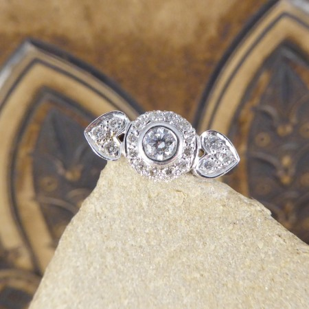 SOLD Contemporary Double Hearted Diamond Ring in 18ct White Gold