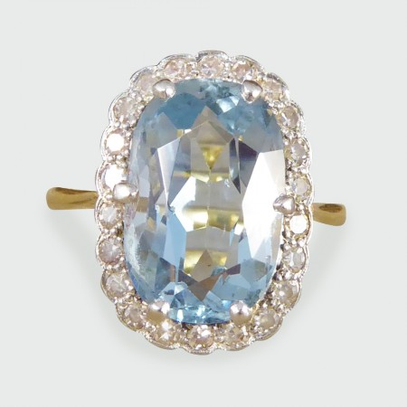 SOLD Edwardian 6.00ct Aquamarine and Diamond Cluster in 18ct Yellow Gold and Platinum