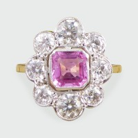 ON HOLD Contemporary Pink Sapphire and Diamond Cluster Ring in 18ct Gold