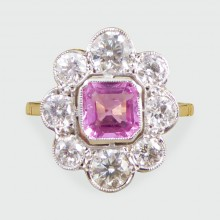 SOLD Contemporary Pink Sapphire and Diamond Cluster Ring in 18ct Gold