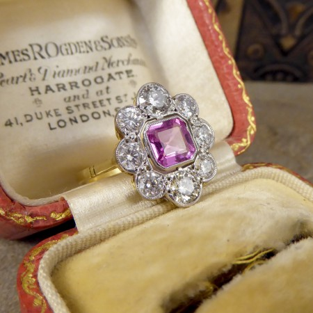 Contemporary Pink Sapphire and Diamond Cluster Ring in 18ct Gold