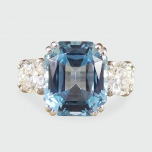 SOLD Vintage 4.65ct Aquamarine and Diamond Three Stone Ring in Platinum