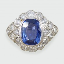 ON HOLD Contemporary 1.90ct Sapphire and Diamond Cluster Ring in Platinum