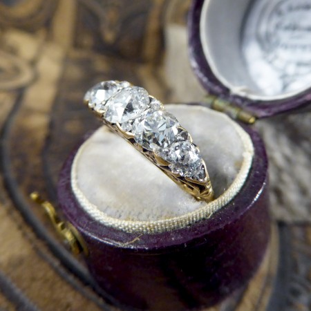 SOLD Antique Late Victorian Five Stone Diamond Ring in 18ct Yellow Gold