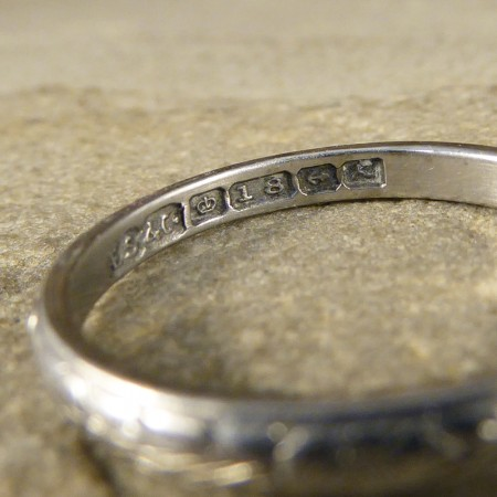 Engraved Detailed Dainty Vintage Band in 18ct White Gold