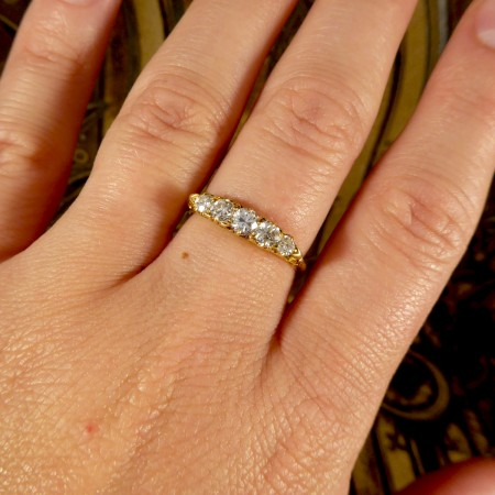 Antique Late Victorian Five Stone Diamond Ring in 18ct Yellow Gold