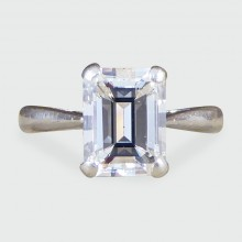 Modern Emerald Cut 1.74ct Diamond Engagement Ring in Platinum
