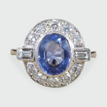 SOLD Modern 1.65ct Sapphire and Diamond Cluster Ring Mounted in Platinum
