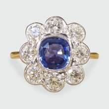 SOLD Contemporary 1.00ct Sapphire and 1.30ct Diamond Cluster Ring in 18ct Gold