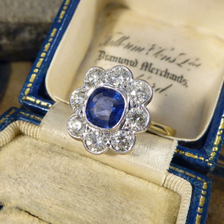 Contemporary 1.00ct Sapphire and 1.30ct Diamond Cluster Ring in 18ct Gold