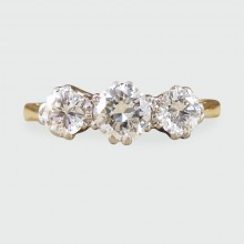 SOLD 1930's Three Stone Diamond Ring in 18ct Yellow Gold and Platinum