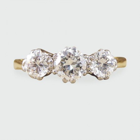 1930's Three Stone Diamond Ring in 18ct Yellow Gold and Platinum
