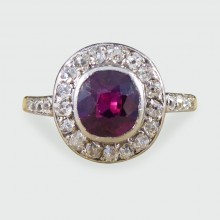SOLD Edwardian 0.85ct Ruby and Diamond Cluster Ring in 18ct Yellow Gold and Platinum