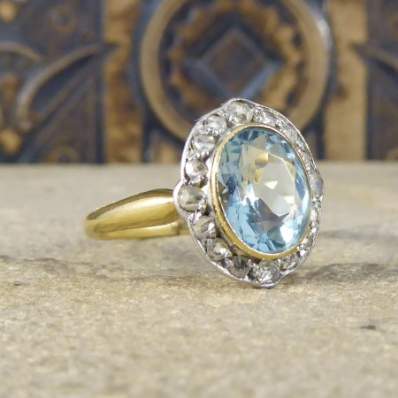 SOLD Antique Edwardian Aquamarine and Diamond Cluster Ring in 18ct Gold