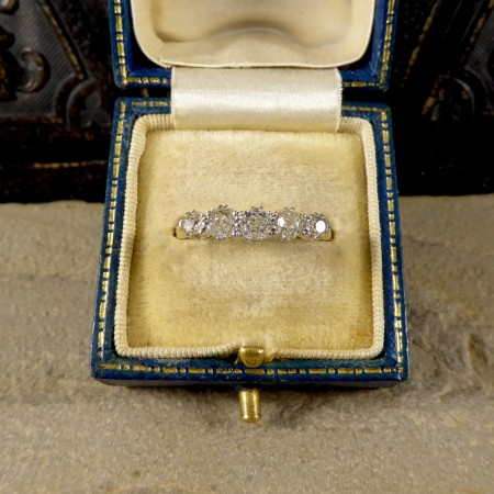 SOLD Edwardian Five Stone Old Cut Diamond Ring in 18ct Yellow Gold and Platinum