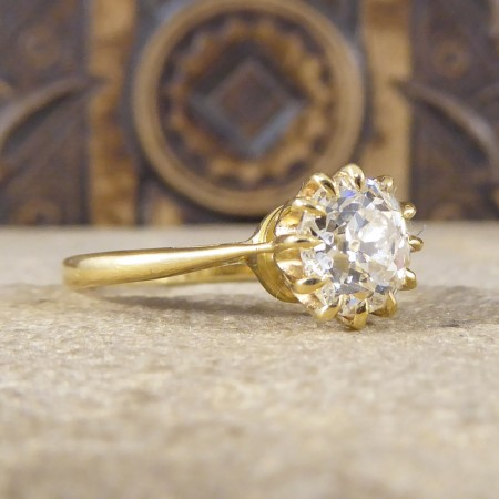 SOLD Vintage 1.50ct Diamond Claw Set Engagement Ring in 18ct Yellow Gold