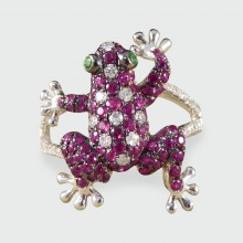 SOLD Contemporary Frog Ring in 18ct White Gold with Rubies, Diamonds and Gem Set Eyes
