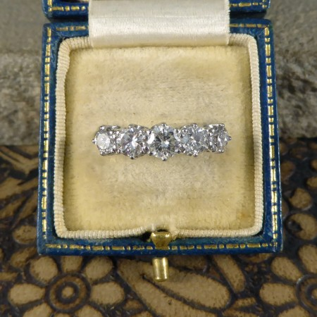 SOLD Contemporary 1.45ct Total Diamond Five Stone Ring in Platinum