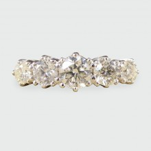 Contemporary Five Stone Diamond Ring with 1.30ct Total in 18ct White and Yellow Gold