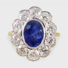 SOLD Contemporary 1.35ct Sapphire and Diamond Cluster Ring in 18ct White Gold