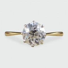 SOLD Antique 1.40ct Diamond Solitaire Engagement Ring in 18ct Gold and Platinum