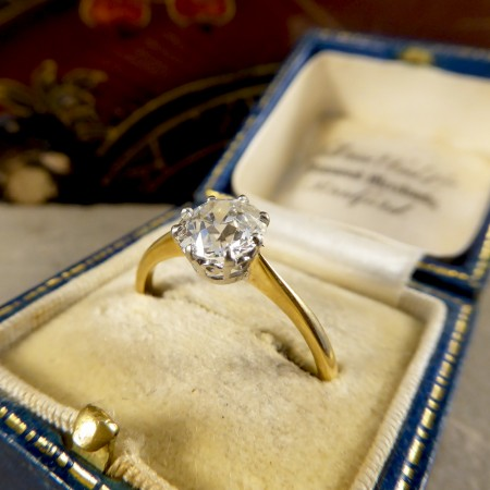 Antique 1.40ct Diamond Solitaire Engagement Ring in 18ct Gold and Platinum