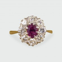 SOLD 1940's Ruby and Diamond Cluster Ring in 18ct White and Yellow Gold