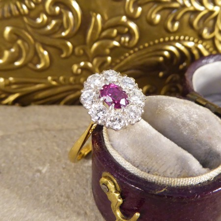 1940's Ruby and Diamond Cluster Ring in 18ct White and Yellow Gold