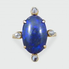 ON HOLD Antique Late Victorian Black Opal and Diamond Ring in 15ct Yellow Gold