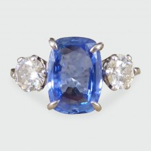 SOLD Art Deco 2.60ct Ceylon Sapphire and Diamond Three Stone Ring in 18ct White Gold