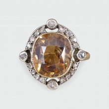 Late Victorian Brown Zircon and Rose Cut Diamond Ring in 18ct Yellow Gold and Silver Topped