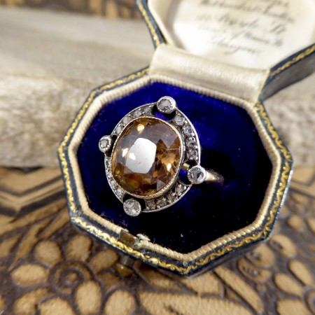 SOLD Late Victorian Brown Zircon and Rose Cut Diamond Ring in 18ct Yellow Gold and Silver Topped