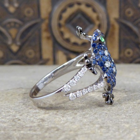SOLD Contemporary Diamond and Sapphire set Amphibian Ring in 18ct White Gold