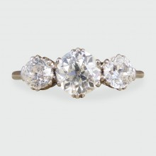 SOLD 1930's Three Stone European Cut Diamond Ring in 18ct White Gold