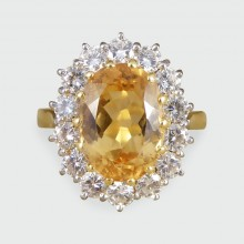 Contemporary Topaz and Diamond Cluster Ring in 18ct Gold