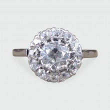 SOLD Art Deco 0.85ct Centre Diamond Cluster Ring in 18ct White Gold and Platinum