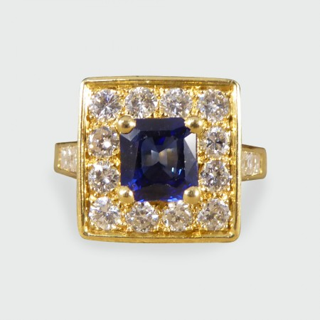 Vintage French Sapphire and Diamond Square Faced Ring in 18ct Yellow Gold