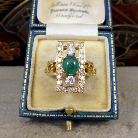 Vintage French Cabochon Emerald and Diamond Ring in 18ct Yellow Gold