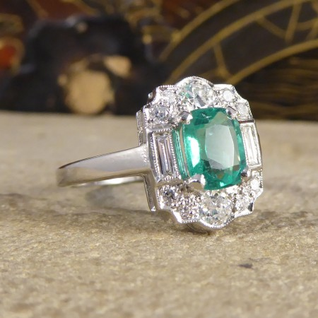 SOLD Contemporary Emerald and Diamond Cluster Ring set in Platinum