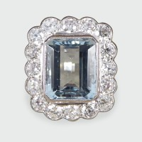 Contemporary 5.00ct Aquamarine and Diamond Cluster Ring in Platinum