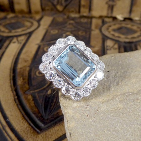 SOLD Contemporary 5.00ct Aquamarine and Diamond Cluster Ring in Platinum
