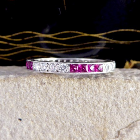 SOLD Contemporary Calibre Ruby and Diamond Full Eternity Ring in 18ct White Gold